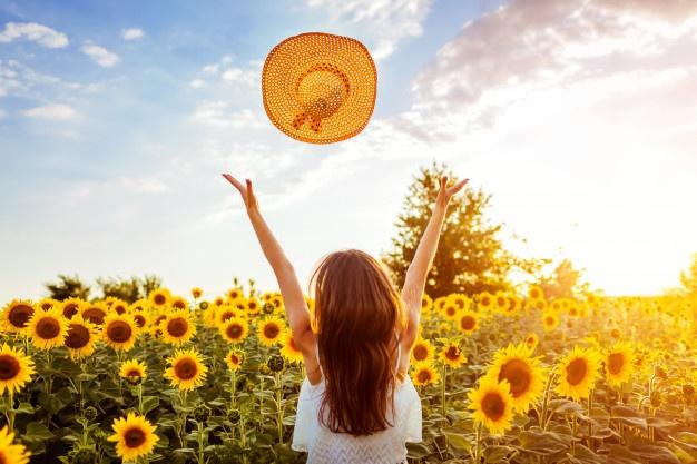 Mujer Joven Que Camina Campo Floreciente Girasol Que Lanza Sombrero Arriba Que Divierte Vacaciones Verano 106029 370